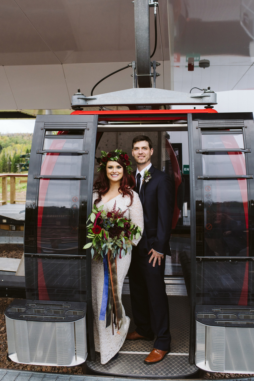 Bride and Groom Summit Chalet Gondola